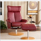 Holly & Martin Bennett Recliner Chair and Ottoman in Brick Red Bonded Leather