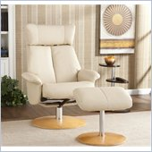 Holly & Martin Bennett Leather Recliner Chair and Ottoman in French Vanilla