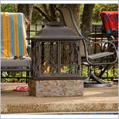 Holly & Martin Burke Portable Gel Fireplace in Brown, Espresso and Faux Slate