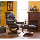 Holly & Martin Canyon Lake Leather Recliner Chair and Ottoman in Brown