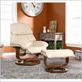 Holly & Martin Canyon Lake Leather Recliner Chair and Ottoman in Taupe