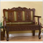 Holly & Martin Cumberland Hand-Carved Storage Settee Bench in Dark Mahogany
