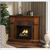 Holly & Martin Cypress Gel Corner Fireplace in Mission Oak