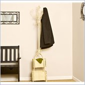 Holly & Martin Graham Coat Rack with Rattan Storage in Ivory