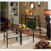 Holly & Martin Guthrie Tempered Glass Metal Table Collection in Distressed Black