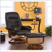 Holly & Martin Hemphill Leather Recliner and Ottoman in Black