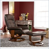 Holly & Martin Hemphill Leather Recliner Chair and Ottoman in Brown