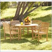 Holly & Martin Henderson 5 Piece Teak Dining Set in Light Brown