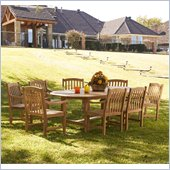 Holly & Martin Henderson 9pc Teak Dining Set in Light Brown