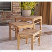 Holly & Martin Howland 3 Piece Teak Nesting Table Set in Light Brown