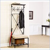 Holly & Martin Leon Entryway Storage Rack/Bench Seat in Textured Black