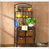Holly & Martin Lillian Black Baker's Rack with 4 Brown Baskets