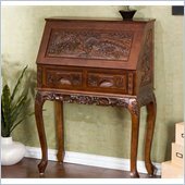 Holly & Martin Logan Hand-Carved Drop Front Desk in Natural Cherry