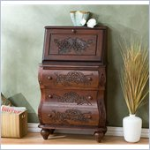 Holly & Martin Logan Hand-Carved Drop Front File Desk in Rich Walnut