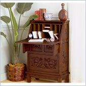 Holly & Martin Logan Hand-Carved Secretary Desk in Warm Pecan