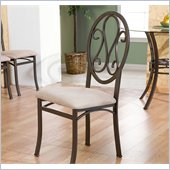 Holly & Martin Paisley Dining Side Chair in Dark Brown & Beige (Set of 4)