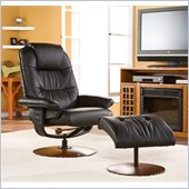 Holly & Martin Parrish Recliner Chair and Ottoman in Black Bonded Leather