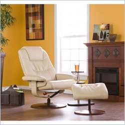 Holly & Martin Parrish Leather Recliner Chair and Ottoman in Taupe