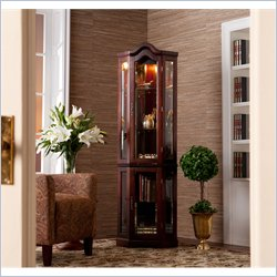 Holly & Martin Riley Lighted Corner Curio Cabinet in Mahogany