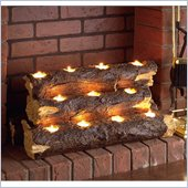 Holly & Martin Sierra Tealight Fireplace Log in Rustic Brown