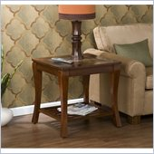 Holly & Martin Suffolk Slate End Table in Brown Cherry