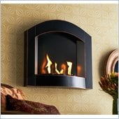 Holly & Martin Topher Wall Mount Arch Fireplace in Black w/ Copper Distressing