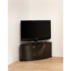 Tech Link Corner Cabinet in Piano Black with Glass Top