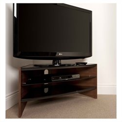Tech Link Riva TV Stand  Walnut Frame with Black Glass Shelves