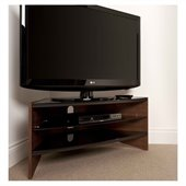 Techlink Riva TV Stand  Walnut Frame with Black Glass Shelves