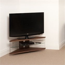 Tech Link Air Acrylic and Glass Corner TV Stand in Walnut
