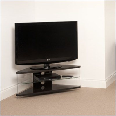 Techlink Air Acrylic and Glass Corner TV Stand in Black