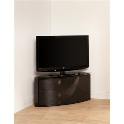 Techlink Corner Cabinet with Glass Top in Piano Black