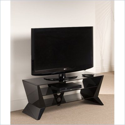 Techlink Delta TV Stand with Shelves and Angular End Panels in Black
