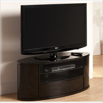 Techlink Ellipse TV Black with Bow Front Drawer and Curved Doors