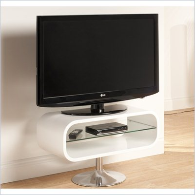 Techlink Opod TV Stand White with Chrome base