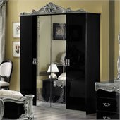 camelgroup Barocco 4 Door Wardrobe in Black w/Silver