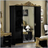 camelgroup Barocco 4 Door Wardrobe in Black w/Gold