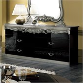 camelgroup Barocco Double Dresser in Black w/Silver