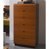 Benicarlo Sal 6 Drawer Chest in Glossy Black/Warm Walnut