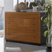 Benicarlo Sal 5 Drawer Dresser in Glossy Black/Warm Walnut