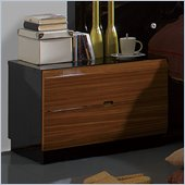Benicarlo Sal Nightstand in Glossy Black/Warm Walnut