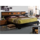 Benicarlo Sal Platform Bed in Glossy Black/Warm Walnut