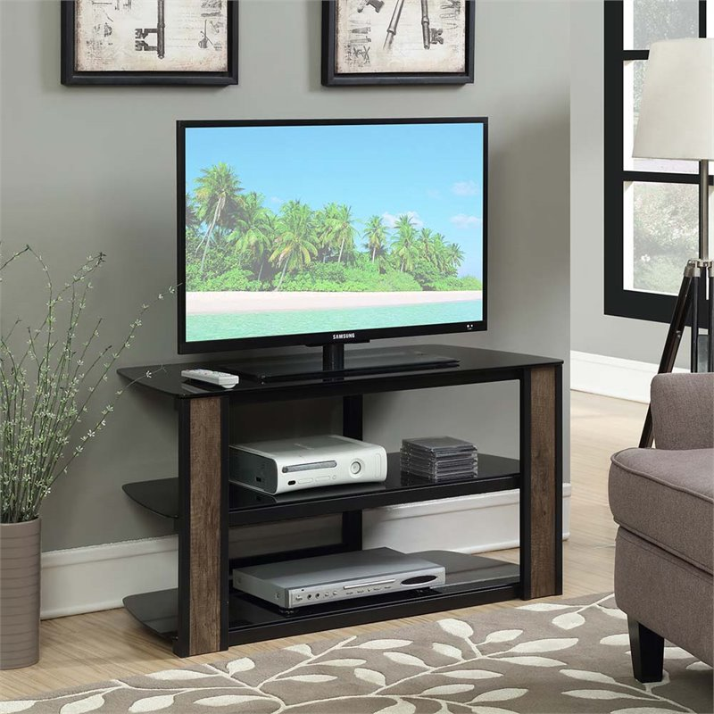 Convenience Concepts Designs2Go Rainer 42 Glass TV Stand in Black
