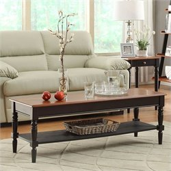 Convenience Concepts French Country Rectangular Coffee Table in Cherry/Black