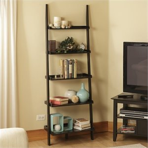 Convenience Concepts American Heritage Ladder Bookshelf in Black