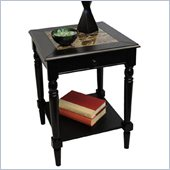 Convenience Concepts Faux Marble End Table in Black