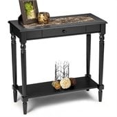 Convenience Concepts Faux Marble Rectangular Hall Table in Black