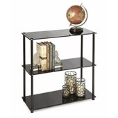 Convenience Concepts Classic Glass 3 Shelf Bookcase in Black