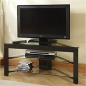 Convenience Concepts Classic Glass and Wood Corner TV Stand in Black