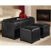 Convenience Concepts Sheridan Storage Bench Ottoman in Black